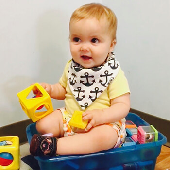 Infant Playing with Blocks